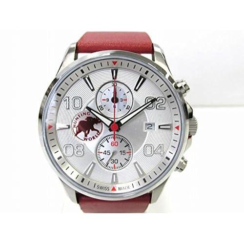 [ハンティングワールド] HUNTING WORLD クロノグラフ 腕時計 ウォッチ ステンレススチール(SS)×レザーベルト HW406RD [並行輸入品]