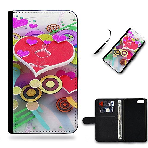 Phone Case Shop Full Protection Cover Case Leather Wallet Case Slot Case for Samsung Galaxy S5 Mini G800 / Hearts and rings pieces symbols /