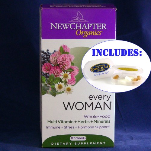 Combo Pack Every Woman Whole Food Multivitamin By New Chapter - 120 Tablets With Pill Box