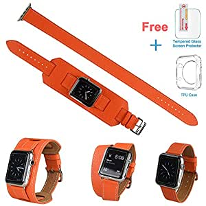 3 in 1 Apple Watch Leather Cuff Band,Eoso [Bracelet/Single/Double] Leather Loop Band for Apple Watch,Sport,Edition Models(Band Cuff Orange,38mm)