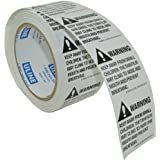 "2"" x 2"" Suffocation Warning Peel and Stick Labels (1 Roll of 500 Labels)"