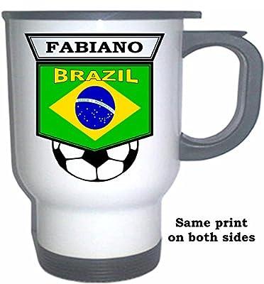 Luis Fabiano (Brazil) Soccer White Stainless Steel Mug