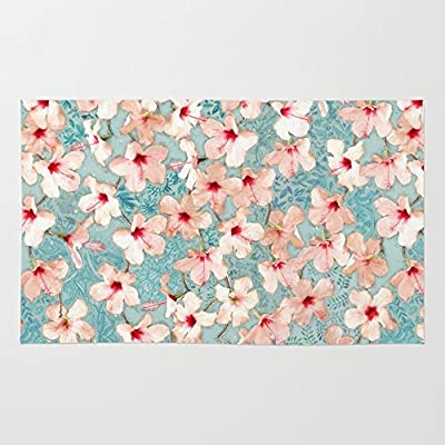 Society6 Shabby Chic Hibiscus Patchwork Pattern In Peach & Mint Rug