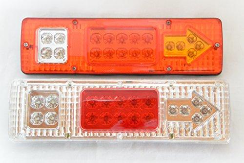 【 走る 喜び 】  LED テール ランプ 矢印 ウインカー 12v  トレーラー トラック お掃除 アイテム 付き (クリア)