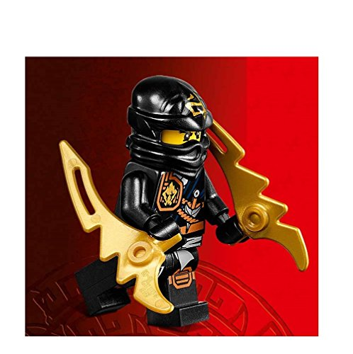 LEGO Ninjago Minifigure - Cole Zukin Robe Jungle Black Ninja with Dual Gold Jagged Blades (70747) - 1