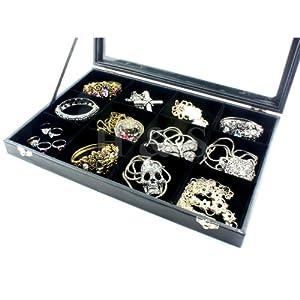 H&S® Glass Lid Bracelet Ring Jewellery Display Storage Box Tray Case - 12 Grid
