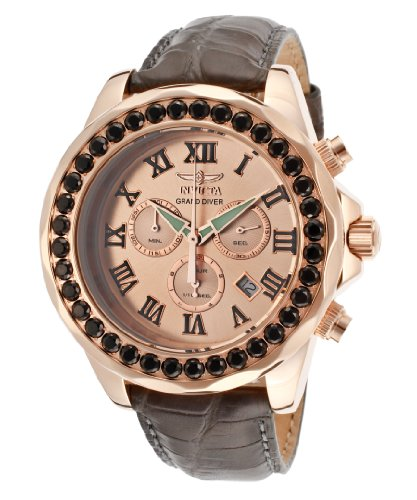 Invicta Grand Diver Chronograph Rose Dial Grey Leather Mens Watch 14924