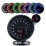 JUDING タコメーター 11000RPM 7色LED 12V シフトライト付き レーシングメーター 5インチ