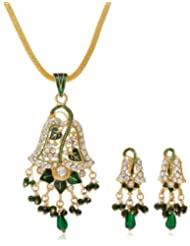 "AAKSHI ""Green Peacock Jhumka Design"" With Green Pearl Drop Jewellery Set (AKS_ST_LEFG)"