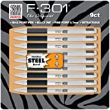 Zebra F-301 Ballpoint Pen, Retractable, 0.7mm, Black, 9 Pack (11169)