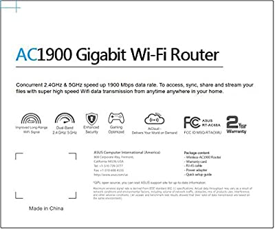 ASUS AC1900 Dual-Band Gigabit Router, AiProtection with Trend Micro for Complete Network Protection (RT-AC68A)