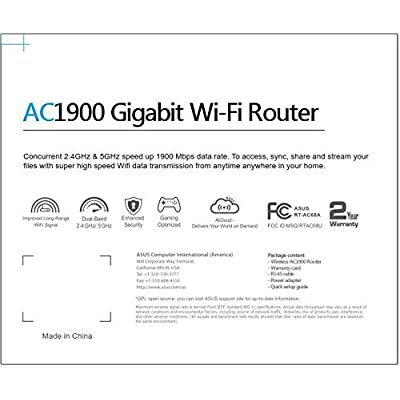 ASUS AC1900 Dual-Band Gigabit Router AiProtection with Trend Micro for Complete Network Protection RT-AC68A