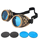 HAMIST Steampunk Goggles Victorian Vintage Glasses Cospaly Decoration Punk Style Protective Welding Cyber Goggles With DIY Lenses (Brass Frame)