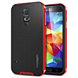 [METALLIZED BUTTONS] Spigen Samsung Galaxy S5 Case Protective [Neo Hybrid] [Dante Red] Slim Fit Dual Protection Cover for Galaxy SV Galaxy S V - Dante Red (SGP10772)