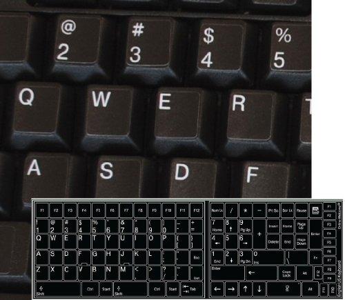 Replacement English Us Keyboard Sticker Black Background