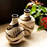 ExclusiveLane Warli Handpainted Terracotta Decorative/Designer/Unique Vase Set- Gift Item / Home Décor