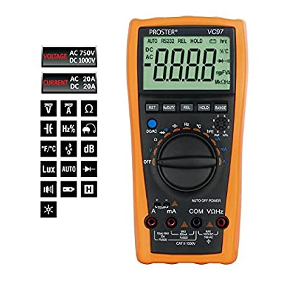 Digital Multimeter, Proster 3999 3 3/4 LCD Multi Tester Auto Range Ammeter Voltmeter Ohmmeter AC DC Ohm Meter Sampling Rate Up to 3 Times/s for Current Voltage Resistance Test