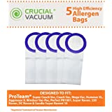 5 ProTeam 10 Quart Vacuum Bags; Fit Super CoachVac, CoachVac, MegaVac, Hummer XL, Aggressor II, Perfect PB1001, Windsor Vac-Pac, Raven Whisper Raven XP-3, Super Raven, 220 Raven, DC Raven, Sandia Super Raven 10 & XP-3 Whisper; Part # 100331; Designed