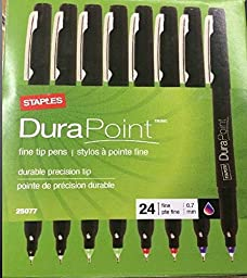 Staples Durapoint Fine Tip Pens Multicolor 24/box .7mm