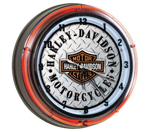 Harley-Davidson® Bar & Shield Diamond Plate Neon Clock