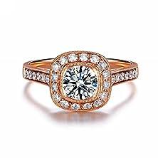 buy Siarola 18K Rose Gold Plated Inlaid Zircon Cz Cushion Cut Halo Engagement Ring R83A (6)