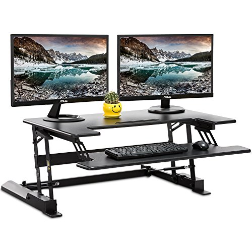 "Standing Desk Converter with Height Adjustable – FEZIBO Sit to Stand up Desk Riser 36"" Black Computer Workstation Dual Monitor Desktop Lifter"