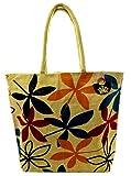 Neska Moda Swachh Bharat Women's Floral Leaves Brown Jute Bag Shoulder Bag - Made In INDIA