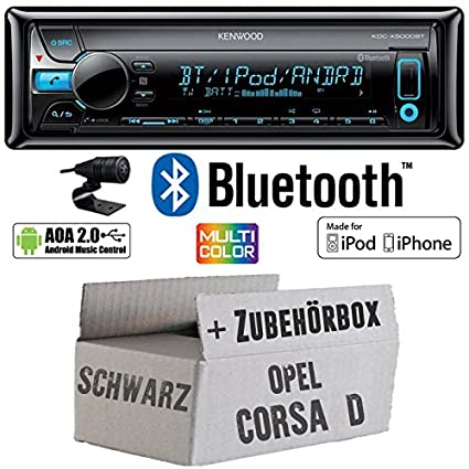 Opel Corsa D schwarz - Kenwood KDC-X5000BT - Bluetooth CD/MP3/USB VarioColor Autoradio - Einbauset