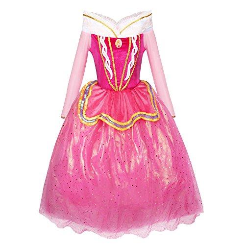 Katara - Costume Vestito da Principessa Aurora di La Bella Addormentata Disney per Bambine - Abito Rosa per Feste a Tema, Carnevali, Compleanni - Disponibile in Varie Taglie per Diverse Età - 6-7 Anni