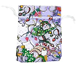 50PCS New Design Holiday or Christmas Lavender Snowman Favor Jewelry Organza Drawstring Gift Bags 7X9cm