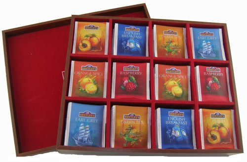 Bentley's Finest Teas Wood Grain Tea Chest, Variety Pack of 6 Flavors, Tea Bags, 120 Count Box