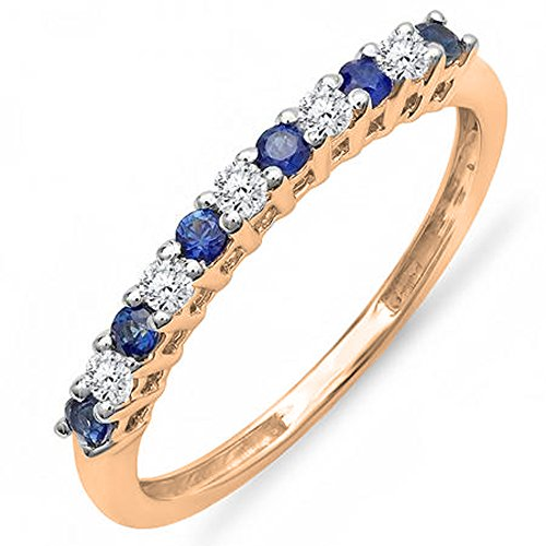 14K Rose Gold White Diamond & Blue Sapphire Stackable Wedding Band 1/2 CT