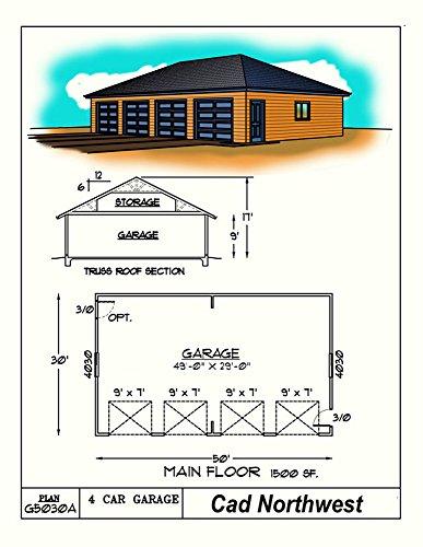 1 story garage plans four car hip roof 50 39 x 30 for Hip roof garage plans