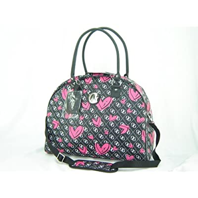 Guess large carry on luggage overnight bag tote scattered hearts print