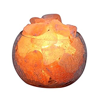 YYout Natural Rock Crystal Himalayan Salt Lamp Globe With Dimmable Switch Electric Wire & Three Bulb.(Bulb-15W)