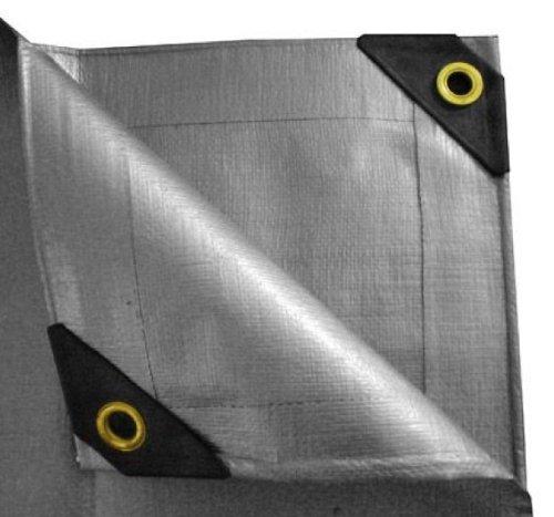 Extra Heavy Duty Silver Tarp Canopy Reinforced Tarpaulin w/ Extra Grip Eyelets (10′ X 10′)