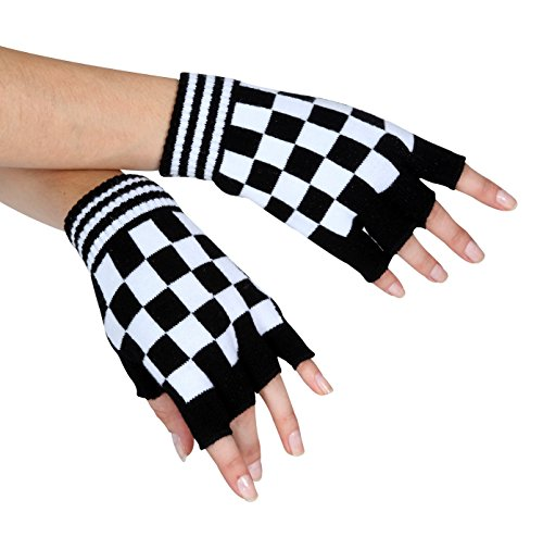 White Checkered Fingerless Gloves,4660D,multi-colored,One-Size