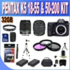 Pentax K-5 16.3 MP Digital SLR Black with PENTAX 18-55 f/3.5-5.6 II AF LENS & PENTAX F 50-200 AUTO FOCUS LENS (2 Lens Kit!!!) w/32GB SDHC Memory + 2 Extended Life Batteries + Ac/Dc Charger + 3 Piece Filter Kit + UV Filter + SDHC USB Card Reader + Shock Pr