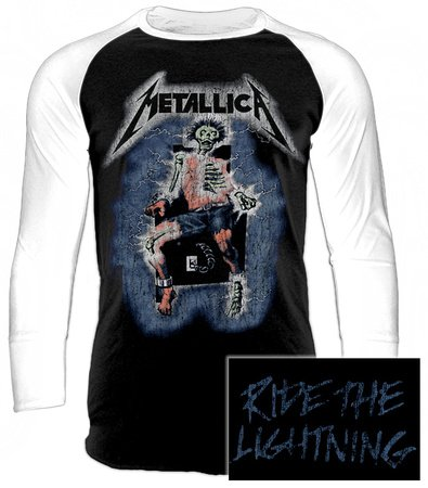 Metallica Ride The Lightning - Electric Chair Maglia baseball manica lunga bianco/nero XL