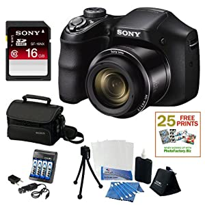 Sony DSC-H200/B High zoom digital camera Black + Sony 16GB SDHC Class 10 SD Memory Card + Sony Deluxe Carrying Case + Flexible Tripod, Memory Card Wallet, 3pc Cleaning Kit & 3 Screen Protectors + NIMH AA 3100mah 4 Pack & AC/DC Charger + 25 Free Quality Photo Prints