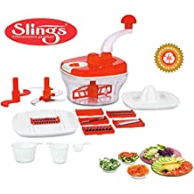 Slings 14 Pcs Manual Food Processor - Chopper, Blender, Atta Maker, Dough Kneader- Red