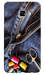 Omnam Colorful Thread Lying On Jeans Printed Designer Back Cover Case For Samsung Galaxy C7