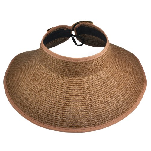 Tinxs Fashion Lady Summer Beach Sun Visor Wide Brim Floppy Foldable Straw Hat(coffee)