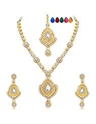 Sukkhi Graceful Gold Plated AD Necklace Set With Set Of 5 Changeable Stone