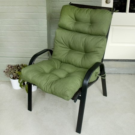 Greendale Home Fashions Indoor/Outdoor High Back Chair Cushion, Summerside Hunter Green