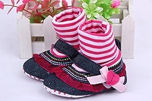 JTC Zapatos De Las Niñas/Bebés Infantil Con Encaje Rojo Llevados Calcetín Antideslizantes