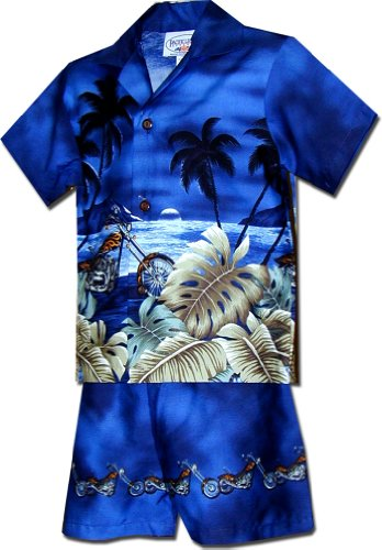 Pacific Legend Boy's Beach Motocycle Hawaiian Cabana Shirt