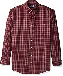 Arrow Men's Big and Tall Long Sleeve Plaid Hamilton Shirt, Deep Chocolate Truffle, 4X
