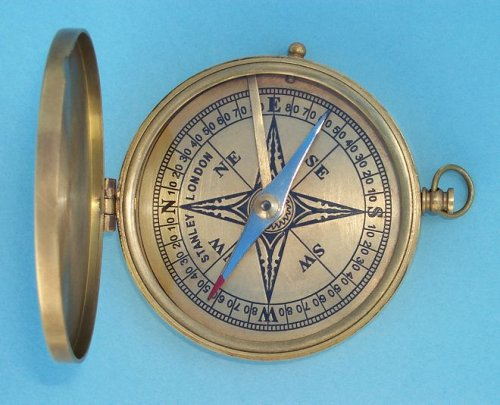 Antique Large Brass Pocket Compass