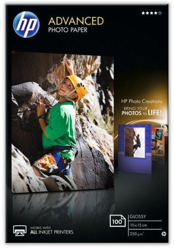HP Q8692A Advanced Carta Fotografica, 10X15 cm, 250 G/Mg, Confezione da 100